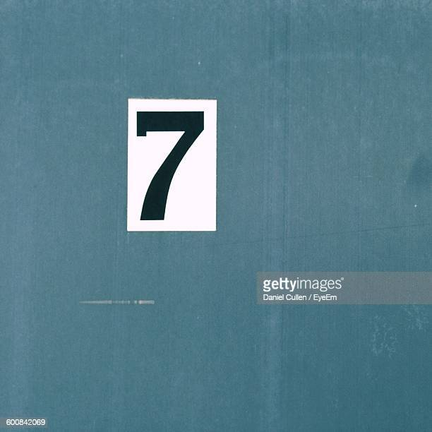Close-Up Of Number 7 Painted On Metal