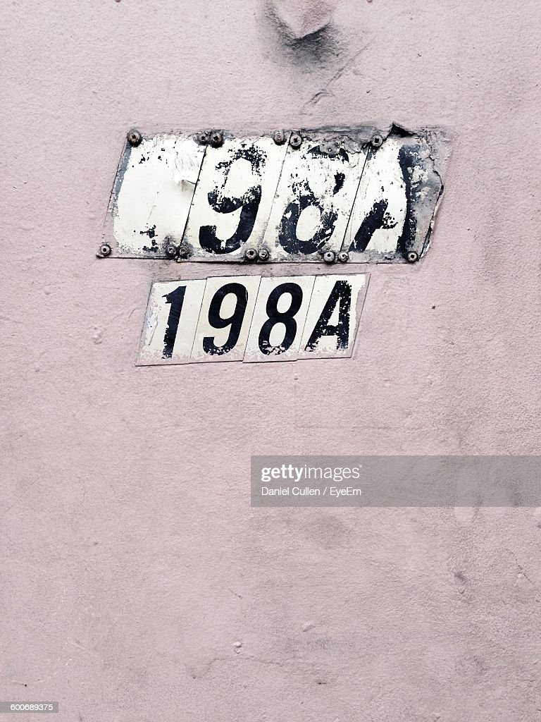 closeup of numbers and letter a on wall stock photo getty images