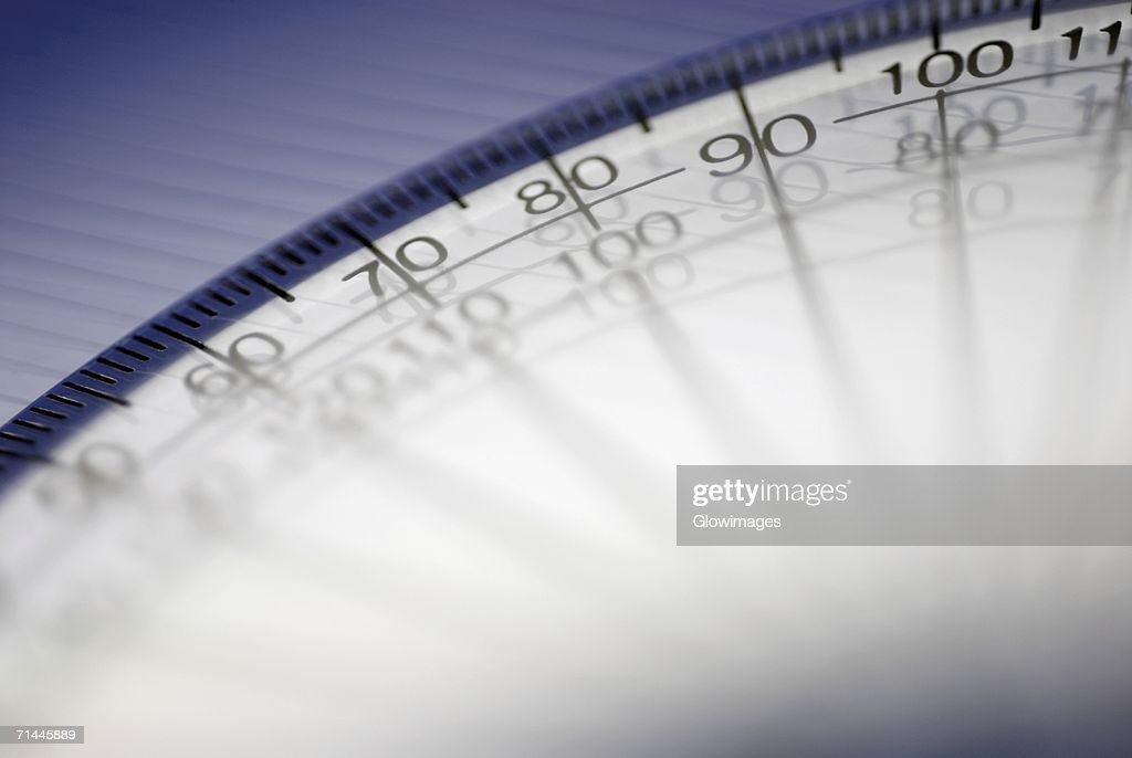 Close-up of numbers on a protractor