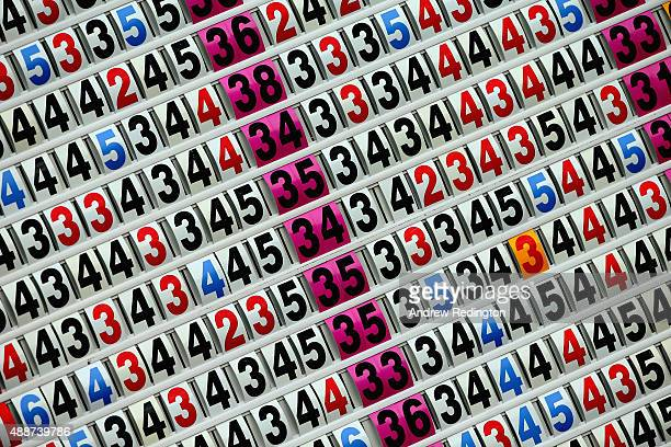 A closeup of numbers on a scoreboard during the first round of the 72nd Open d'Italia at Golf Club Milano on September 17 2015 in Monza Italy