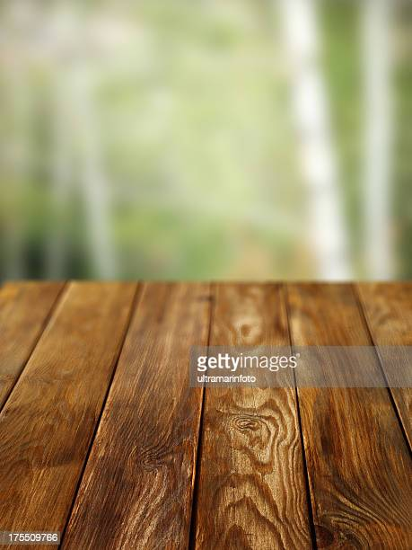 Close-up of old pine picnic table