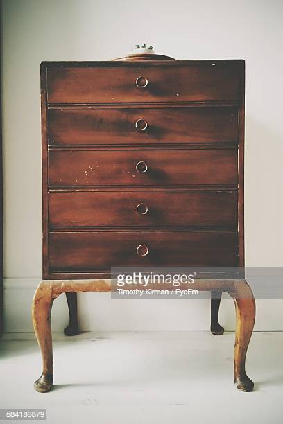 Close-Up Of Old Wooden Dresser At Home