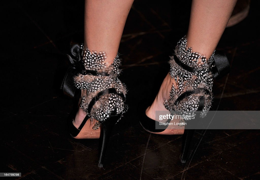 A close-up of Olivia Palermo's heels (shoe detail) at The Cinema Society and Jaeger-LeCoultre Hosts A Screening Of 'The Host' at Tribeca Grand Hotel on March 27, 2013 in New York City.