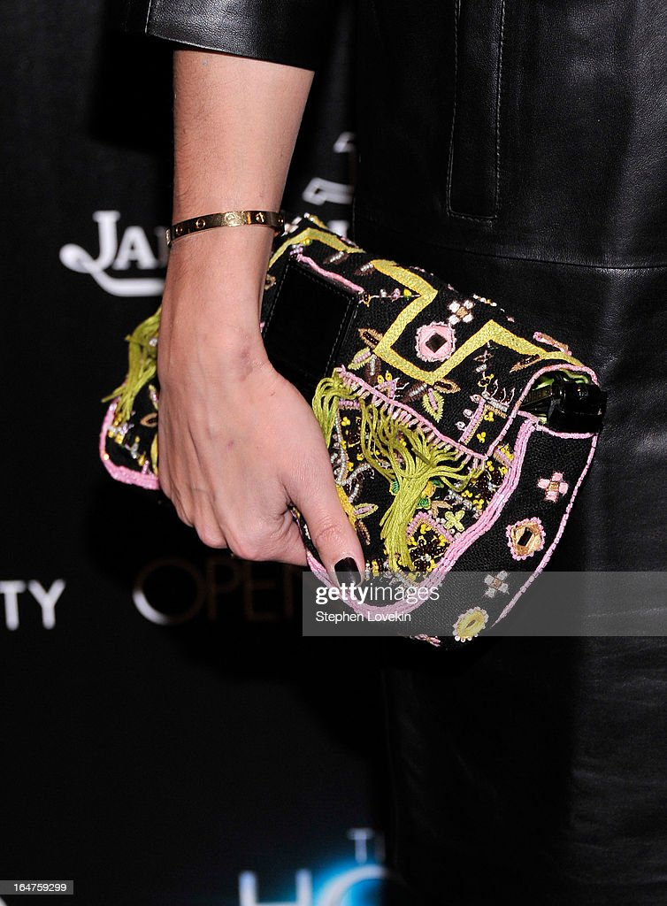 A close-up of Olivia Palermo's purse (purse detail) at The Cinema Society and Jaeger-LeCoultre Hosts A Screening Of 'The Host' at Tribeca Grand Hotel on March 27, 2013 in New York City.