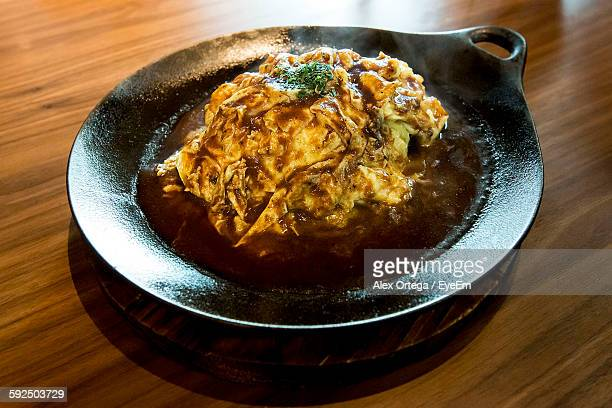 Close-Up Of Omurice In Cooking Pan On Table