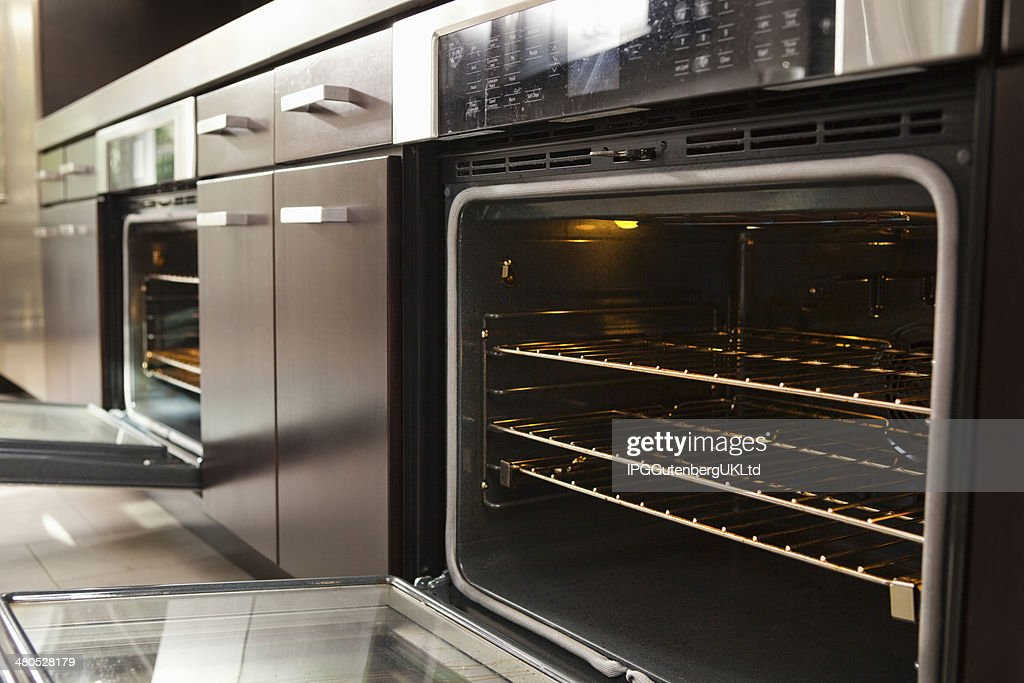 Closeup Of Open Oven : Stock Photo