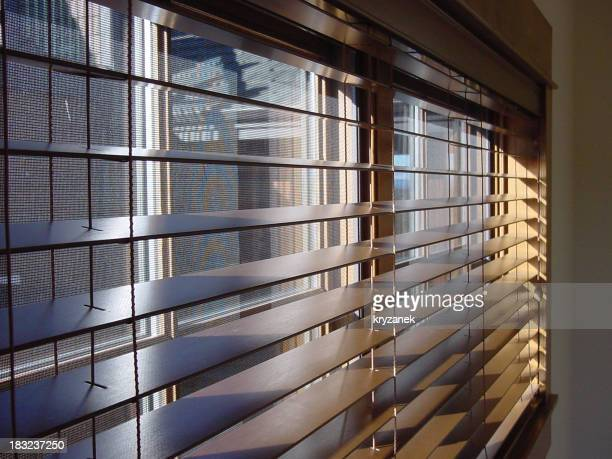 Close-up of open wooden window blinds