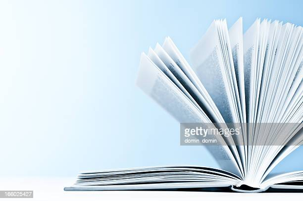 Close-up of opened book with pages on light blue background