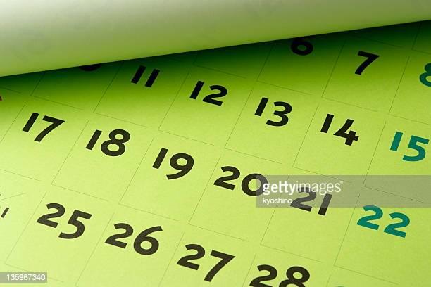 Calendario aperto verde