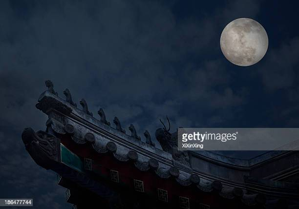 Close-up of ornate roof tiles on Chinese building with moon background, night.