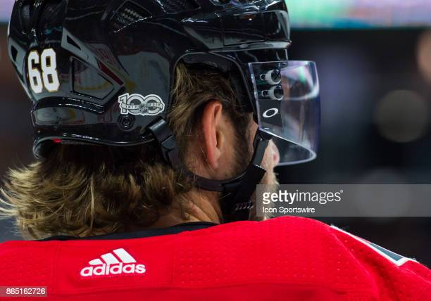 A closeup of Ottawa Senators Left Wing Mike Hoffman helmet during the NHL game between the Ottawa Senators and the Toronto Maple Leafs on October 21...