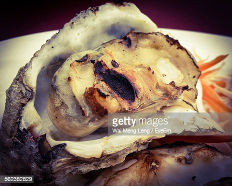 Close-Up Of Oyster Served In Plate