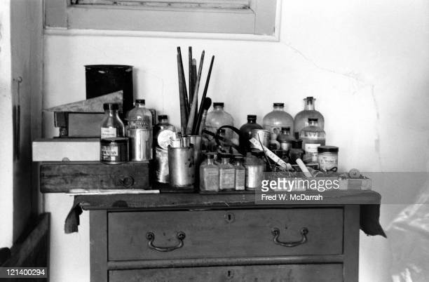 Closeup of paints and brushes in the studio of artist Edward Hopper New York New York March 7 1962