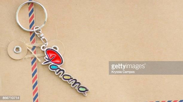 Close-up of Panama Keychain on Envelope
