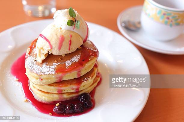 Close-Up Of Pancakes Served In Plate