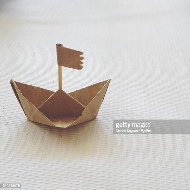 Close-up of paper boat