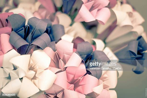 Close-up of paper flowers