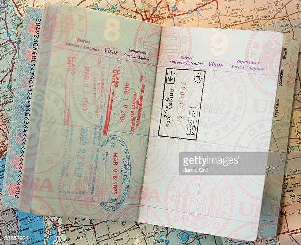 Close-up of passport on map