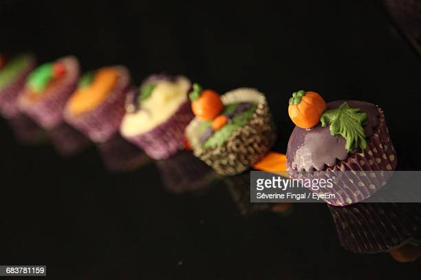 Close-Up Of Pastries In Row
