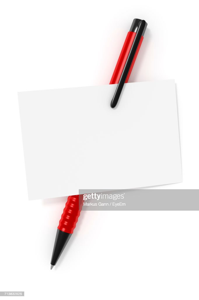 Nice Close Up Of Pen With Blank Paper On White Background