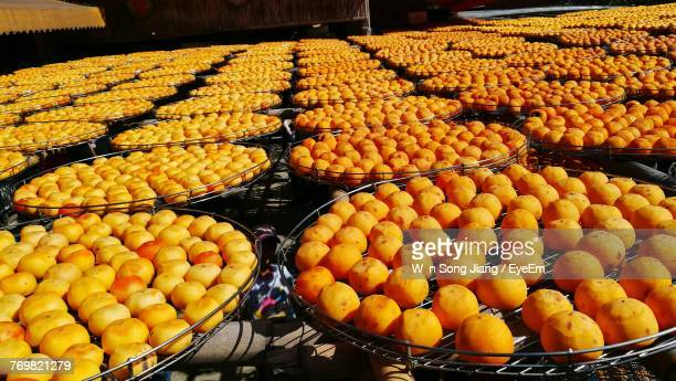 Close-Up Of Persimmons For Sale In Market