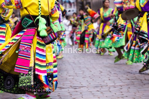 Closeup Of Peruvian Dancers At The Parade In Cusco Stock Photo