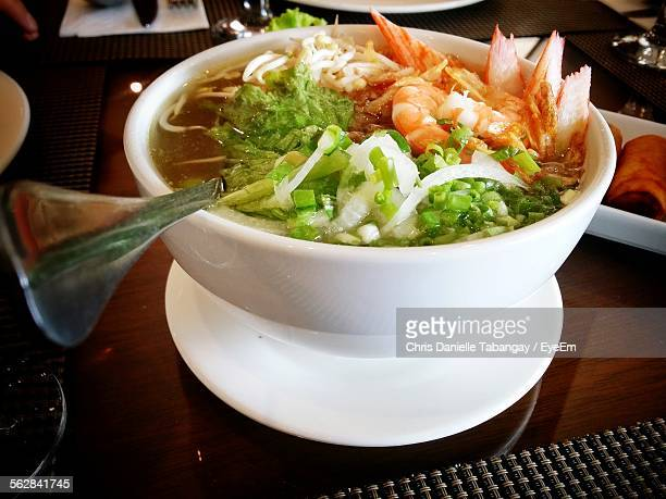 Close-Up Of Pho Served In Bowl On Table