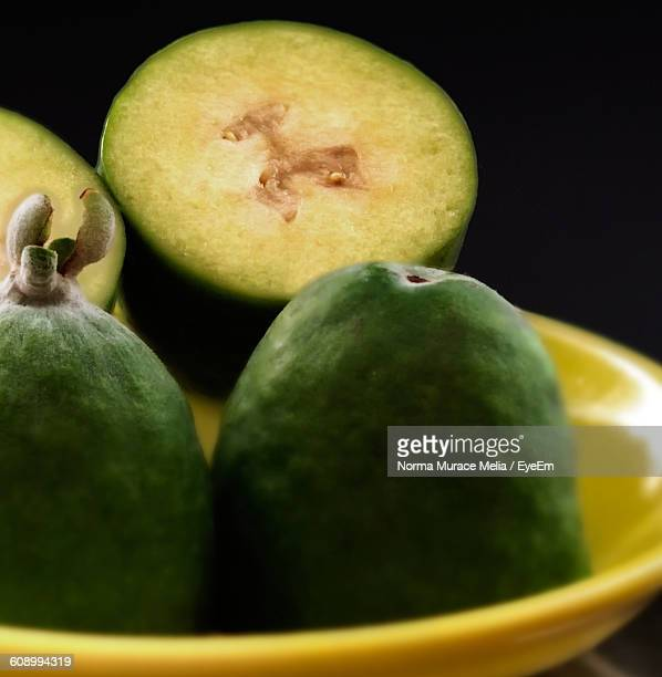 Close-Up Of Pineapple Guavas In Plate