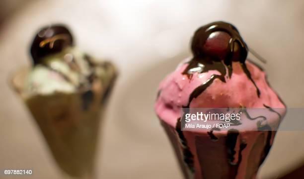 Close-up of pink cherry ice cream