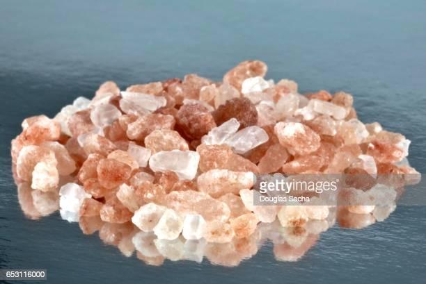 Close-up of pink colored Himalayan Salt Crystals (Sodium chloride)