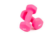 Pink weight training dumbbells on white