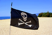 Close-Up Of Pirate Flag At Beach Against Sky