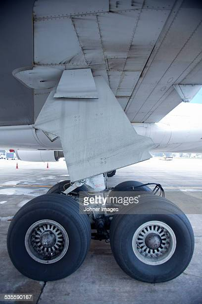 Close-up of plane wheels
