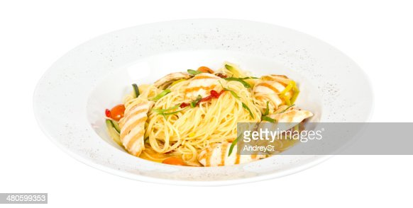 close-up of plate of pasta and chicken : Stock Photo