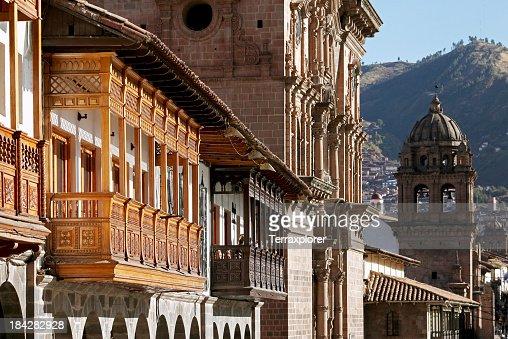 Closeup of Plaza de Armas in Cusco, Peru