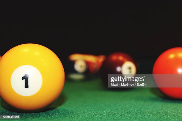 Close-Up Of Pool Balls On Pool Table