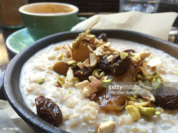 Close-Up Of Porridge In Bowl On Table