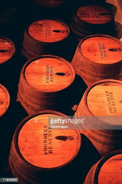 Close-up of port barrels, Oporto, Portugal
