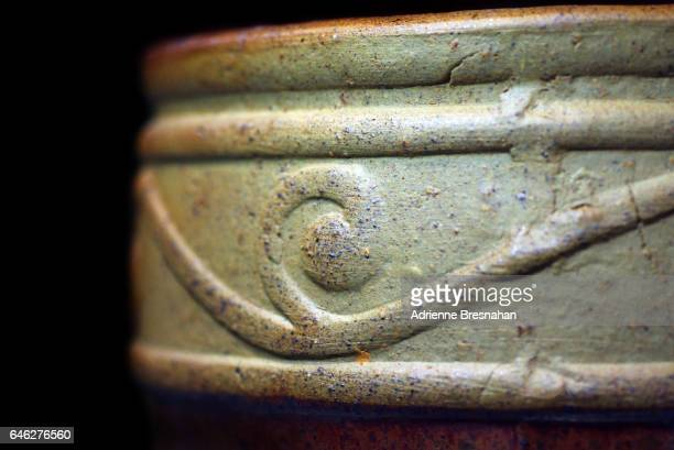 Close-Up of Pottery With Scroll Design
