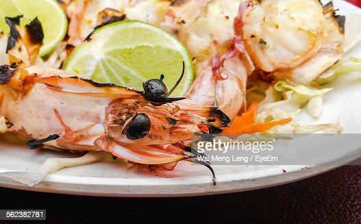 Close-Up Of Prawns Served In Plate