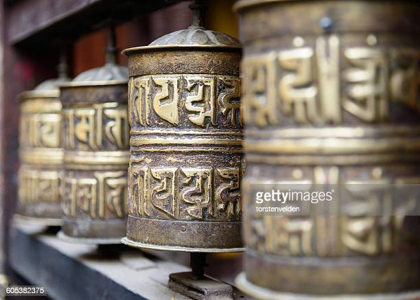 Close-up of Prayer wheels in temple, Nepal