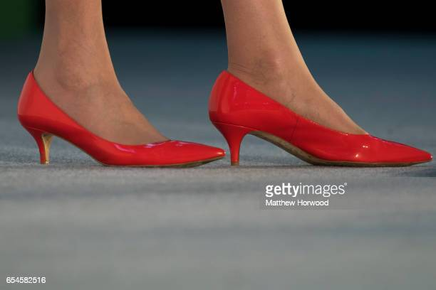 A closeup of Prime Minister Theresa May's shoes during the Conservative Spring Forum on March 17 2017 in Cardiff Wales In her speech the Prime...