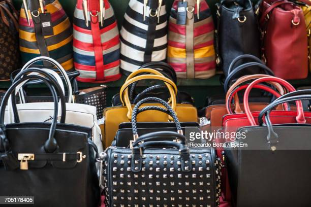 Close-Up Of Purses At Market Stall