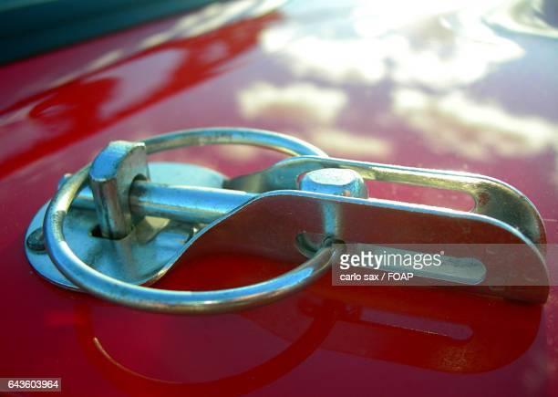 Close-up of race car bonnet
