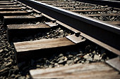 Close-up of railroad track in New York City, NY, USA