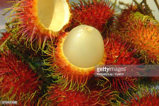 Close-Up Of Rambutans On Plate At Home