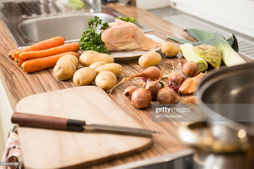 Closeup Of Raw Food On Kitchen Counter For Chicken Soup Munich
