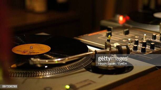 Close-Up Of Record Player At Nightclub