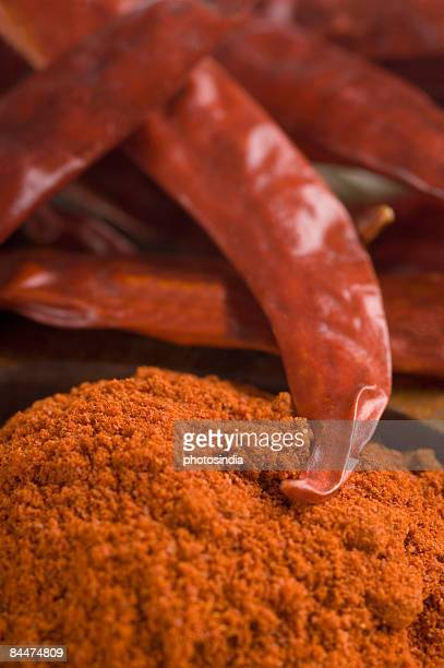 Close-up of red chili peppers with paprika