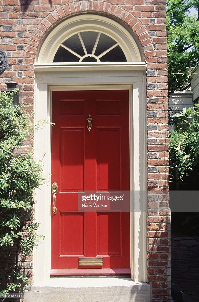 Red Door Home Two Simple Ideas To Add Character To Your: Closeup Of Red Door Of Home Stock Photo